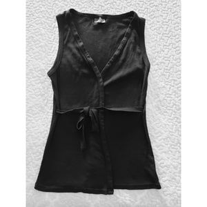 Michael Stars black ribbed wrap sleeveless tunic